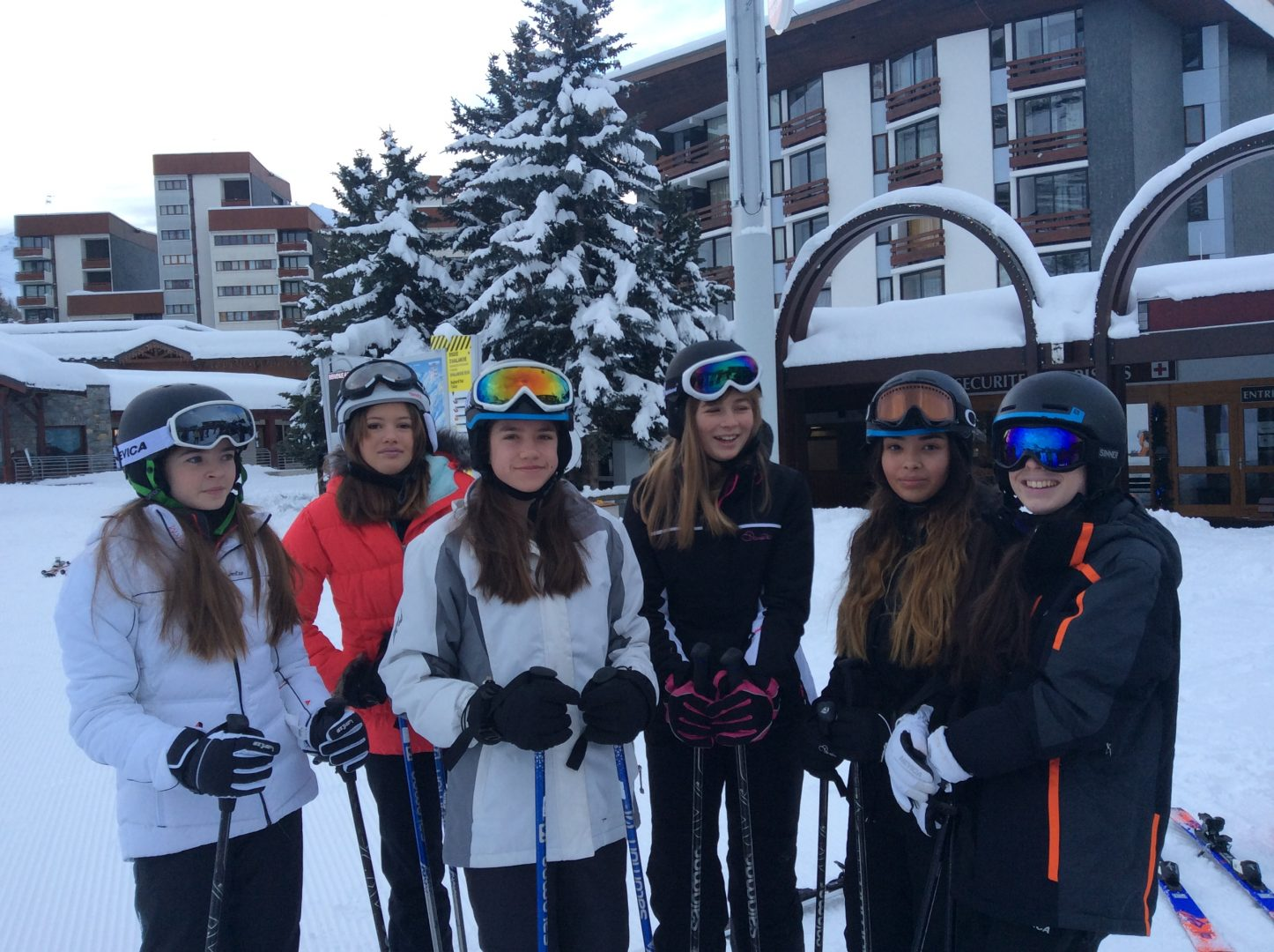 CHS girls pose for the camera while on school ski trip