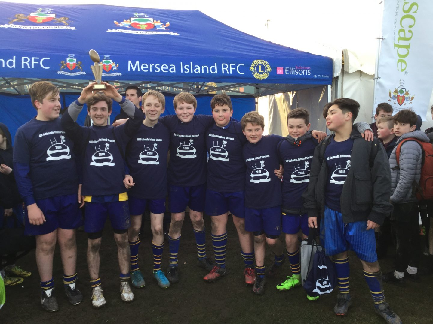 Year 8 pupils celebrate winning All Schools Island Sevens